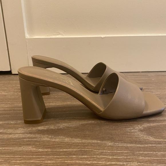 Zara Leather Block Heel Sandals in Grey